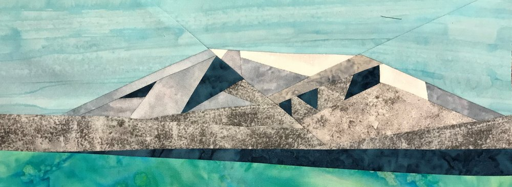 Mt Ruapehu, foundation pieced 6 x 15 inch block