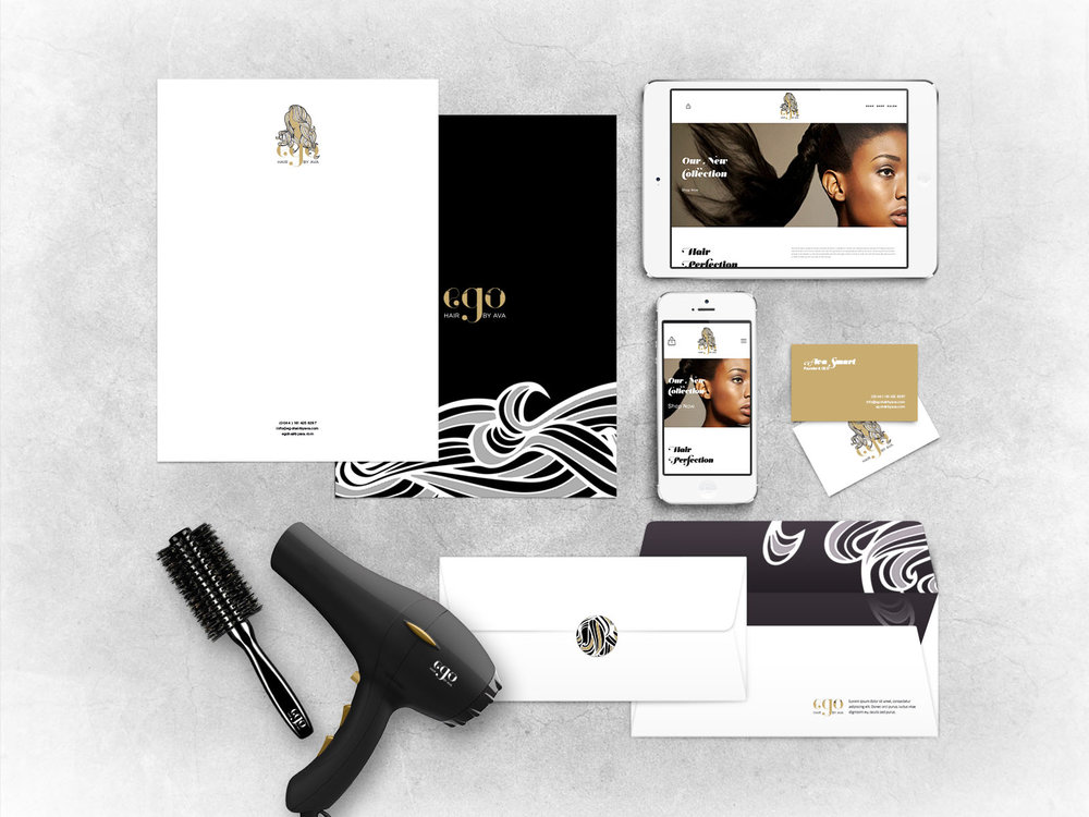 EGO by AVA Logo Design, Stationary Design, Packaging, Website Design, Signage