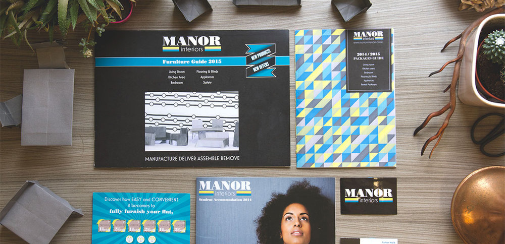 Manor Interiors rebranding and print design material