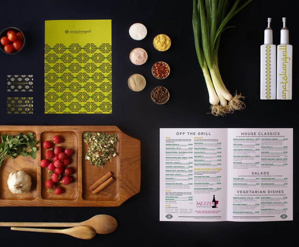 Anatolian Grill - Brand Lift, Pattern Design, Menu Design
