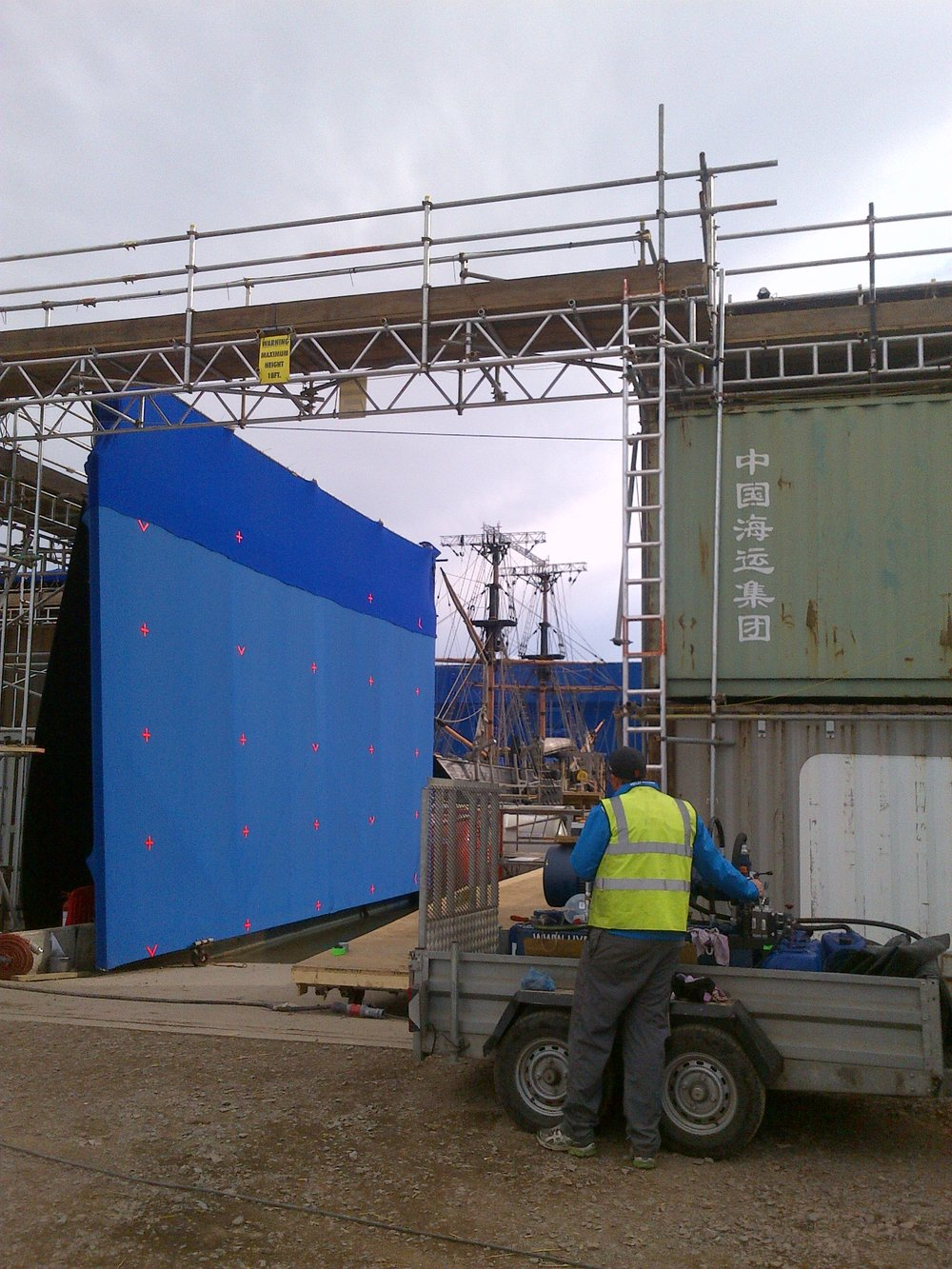 blue screen filming tall ship model in a tank
