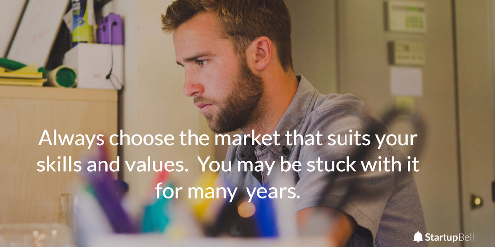 Match your skills and values to your startup.  You may be stuck with it for many years.