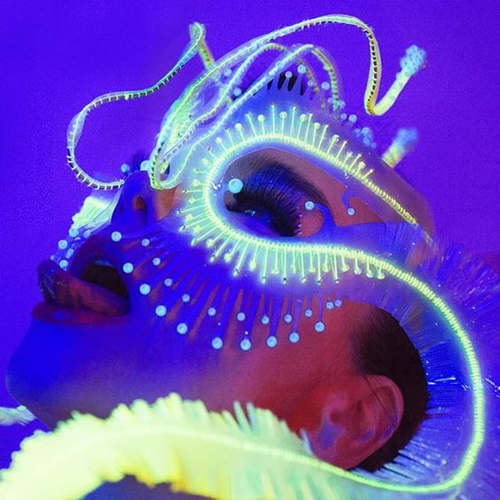 Bjork wearing the 'Ghost Orchid' head piece via  @james.t.merry
