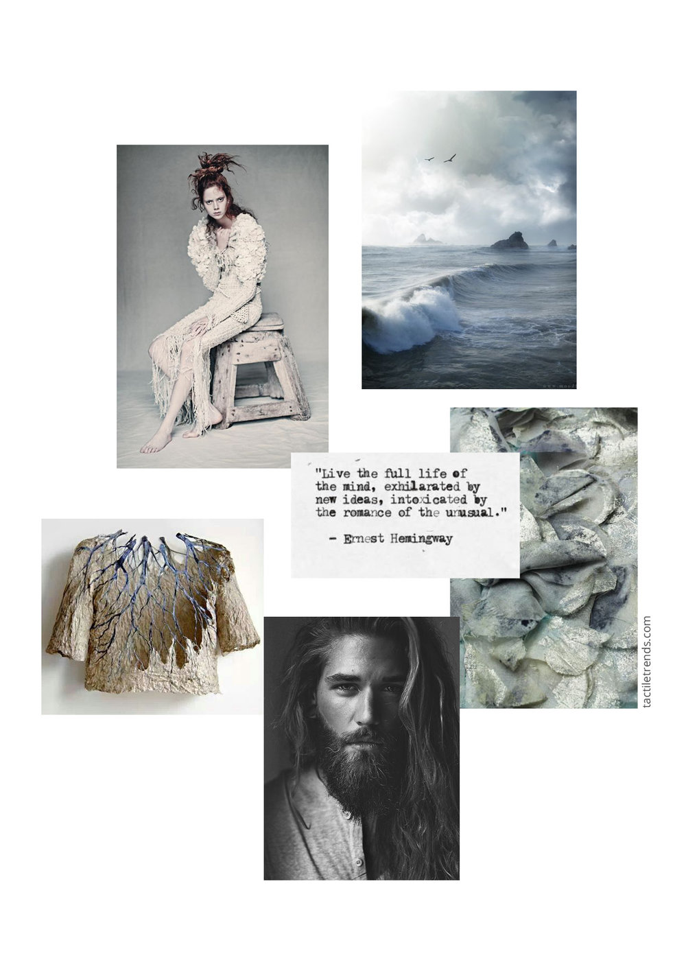 Trend Story AW18/19 - Mariners Muse  Images: Paolo Roverski  for Vogue Italia |  Mood Flow  |  Reija Jokinen  | The Old Man and the Sea by Ernest Hemingway |  Sarah Walton  | Ben Dahlhaus by  Esra Sam