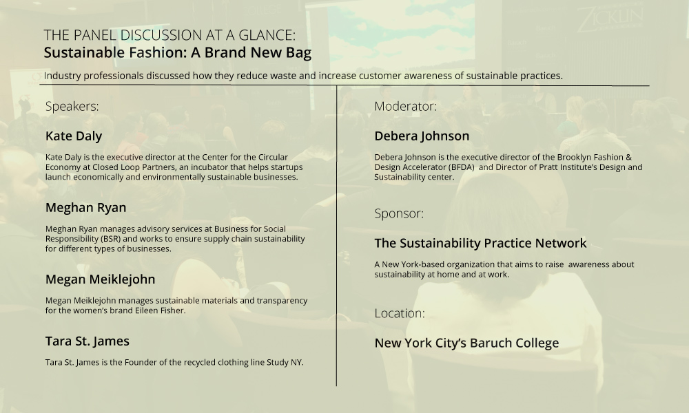 Graphic showing panel details of 'Sustainable Fashion: A Brand New Bag'