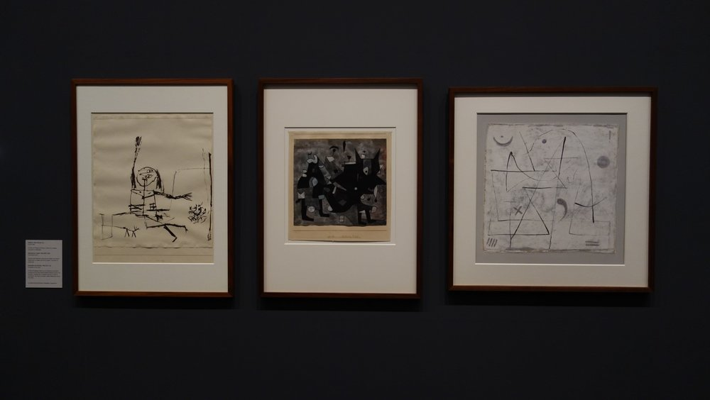 Paul Klee. A Collection Travelling Around the World  Left to Right: Cry for Help, 1932; Overloaded devil, 1932; Thoughts in the Snow, 1933