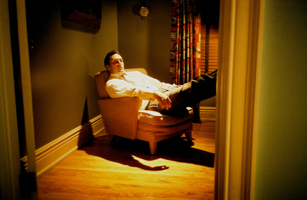 John Hamm relaxing off set on Mad Men