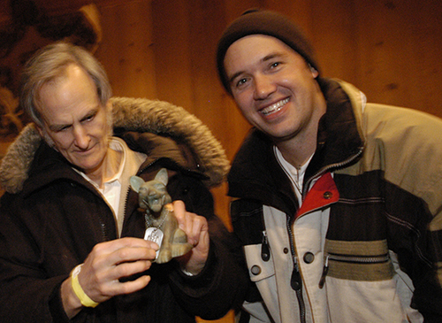 "Bruce Bickford and Brett Ingram with the Best Documentary ""Sparky"" trophy awarded to Monster Road at the 2004 Slamdance Film Festival in Park City, UT."