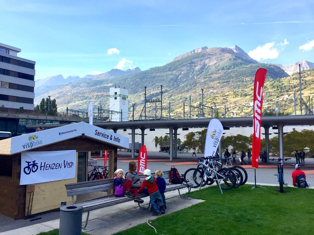 Service +Info point@ station Visp - Good News!Directly at the station Visp (opposite Postbuses) there is a small SERVICE & INFO place in late summer/autumn 2017 (in the afternoon from 13:00 - 18:00)Stop by and have a look:✔� to test different bicycles, bikes or e-bikes✔� to get your bike fixed or use the tools✔� to get tips or tour-ideasA big THANKS goes out to: Visp Tourismus | Velo Henzen Visp | PostAuto / CarPostal / AutoPostale / PostBus | Pfammatter Maler und Gipser AG | Gemeinde Visp