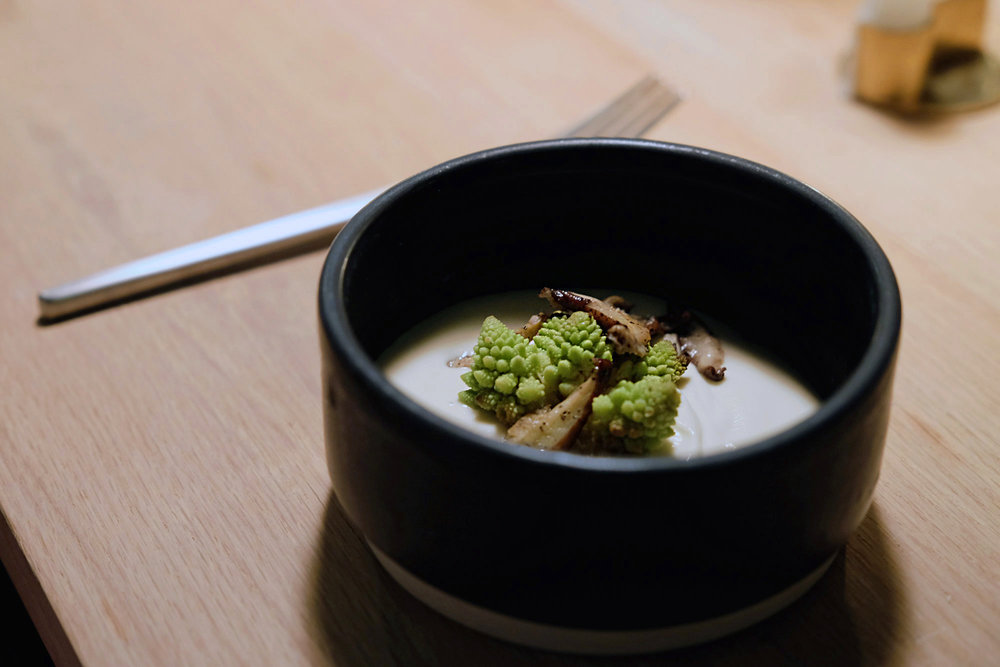 Roast Autumn || Cauliflower Soup, Charred Romansco, Shiitake