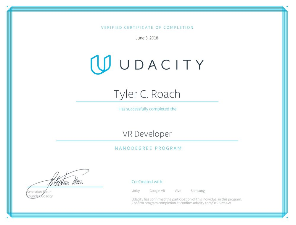 VR Developer Nanodegree Program -