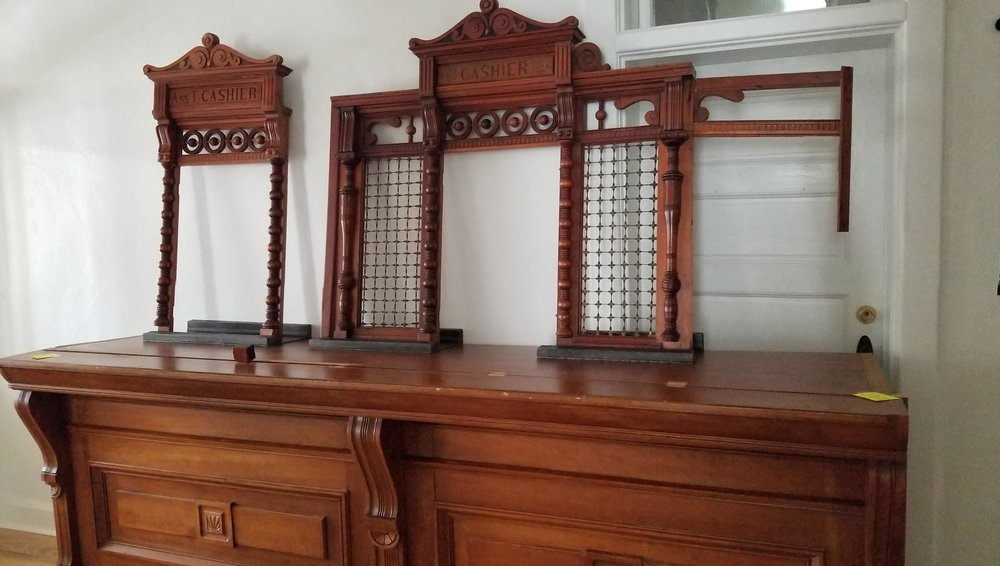 The original teller cages from the People's Bank, donated to the Bentonville History Museum