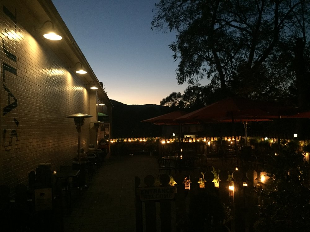 Tula's heated patio on a crisp mountain evening