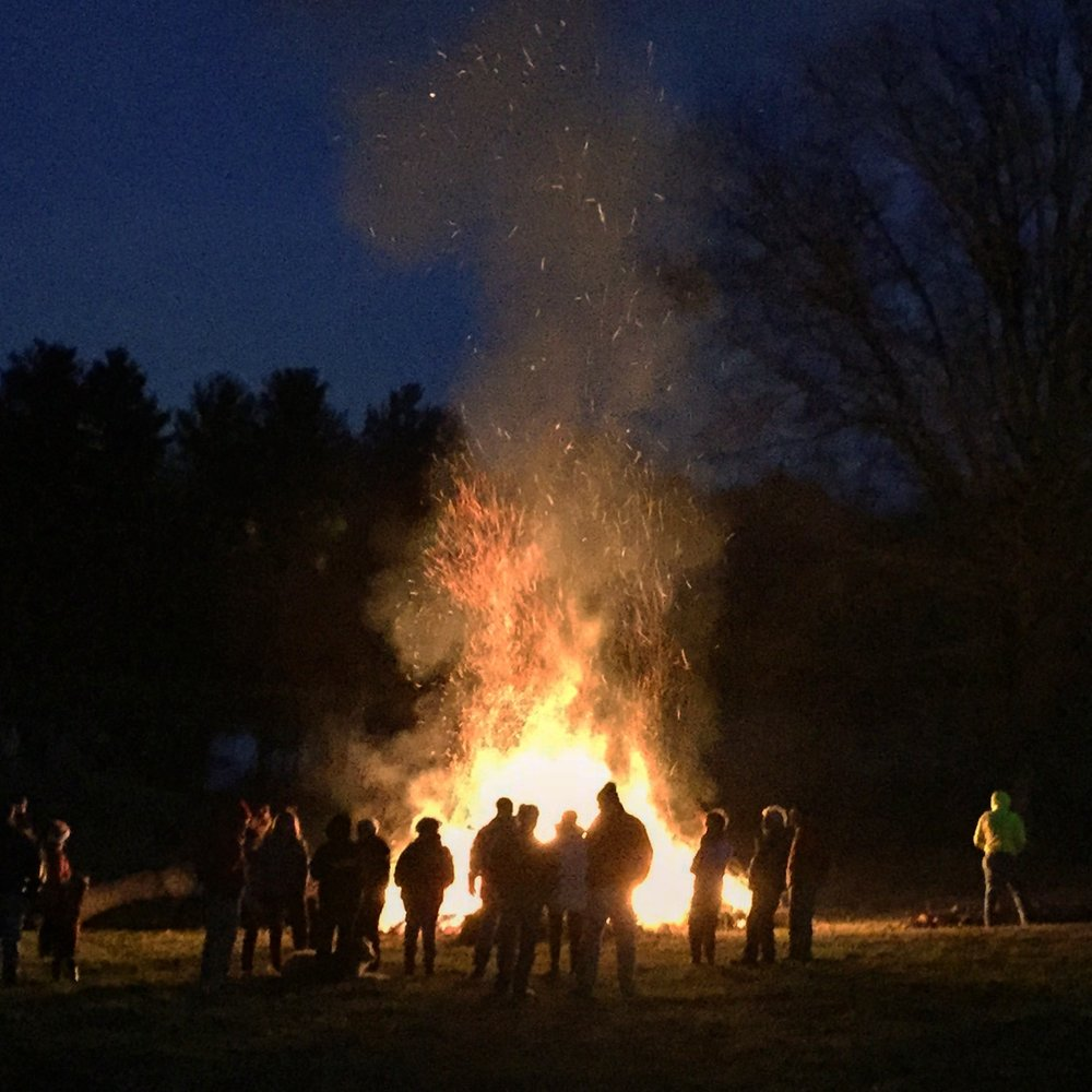 The annual bonfire outside Tula's dining room windows