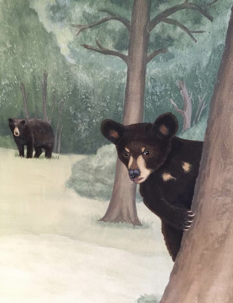 When nature calls you will pass through Tula's very cool forest mural painted by artist extraordinaire Linda Heimstra