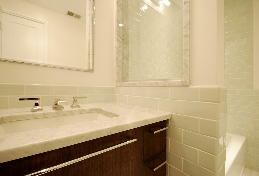 Hall Bathroom. East Lakeview. Marble and Oak. Green gloss tile. Elegant and rich.