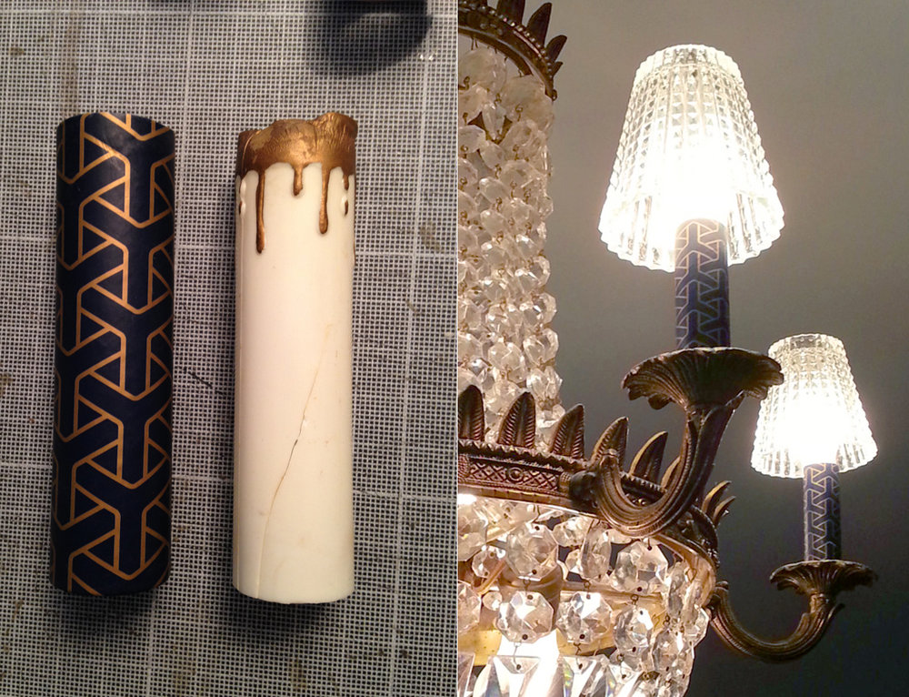 In the master bedroom we replaced the false candles in the chandelier with these geometric patterned covers.