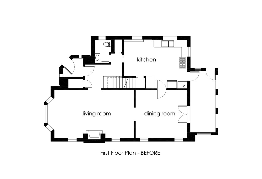 Before Plan of the First Floor. We decided to turn the kitchen into the family room and the dining room into the kitchen. The approach keeps the family room a bit more private and connects the spaces on the south side of the home.