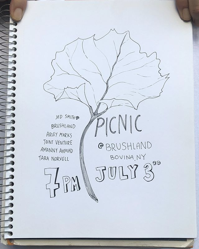 Garden picnic tomorrow @brushlandeating . 7pm $40 very chill family meal. dm for tickets #saladpizza #fuki #chilledchickensoup #stickygooeycocktail  Art @lalph_rauren @jds_09