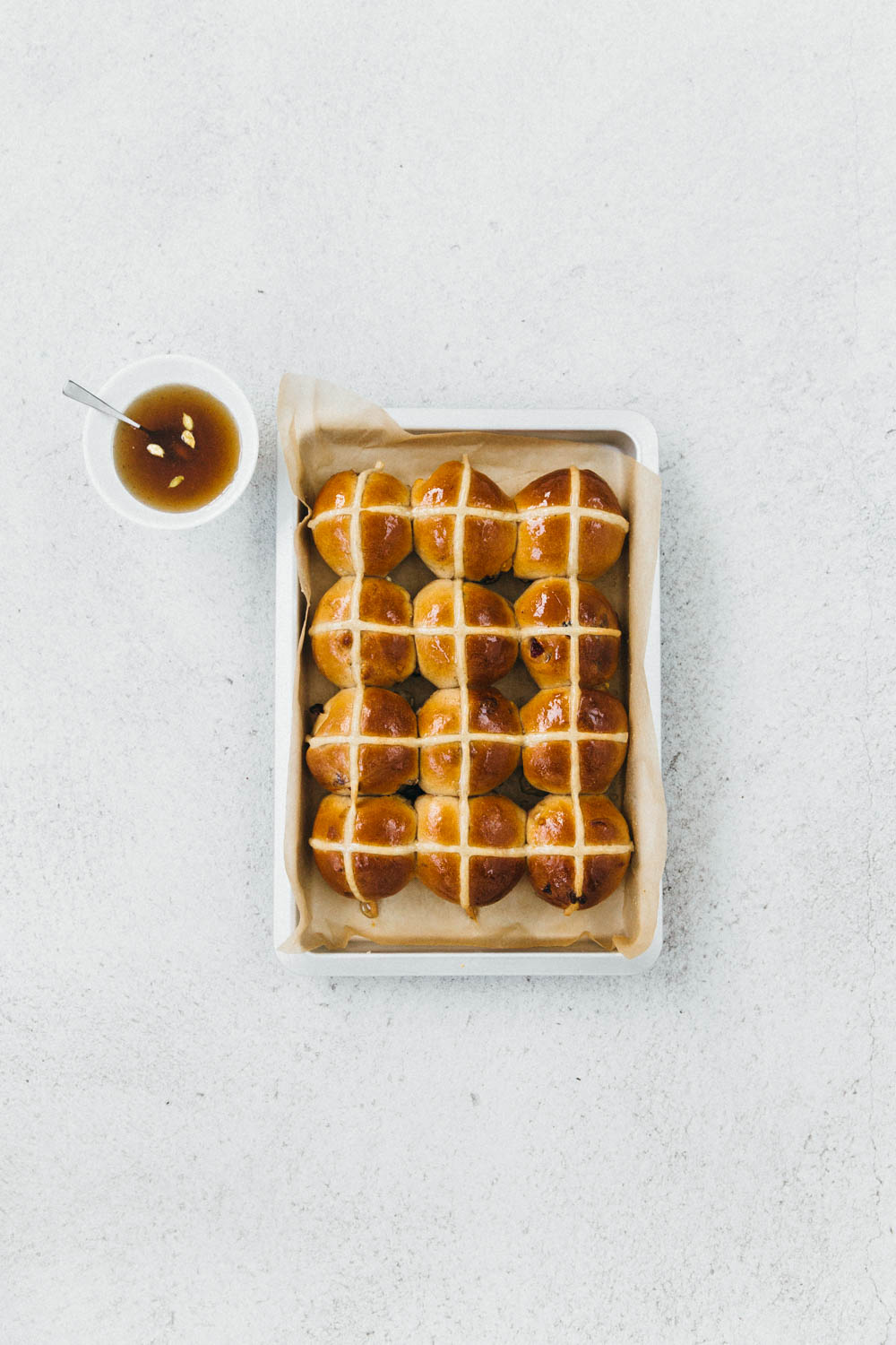 In The Studio - Benjamina + Sour Cherry and White Chocolate Hot Cross Buns