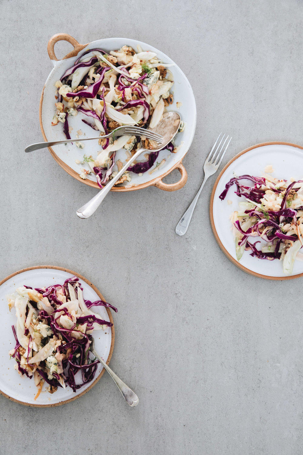 Red Cabbage, Fennel and Apple Slaw with Blue Cheese & Walnuts