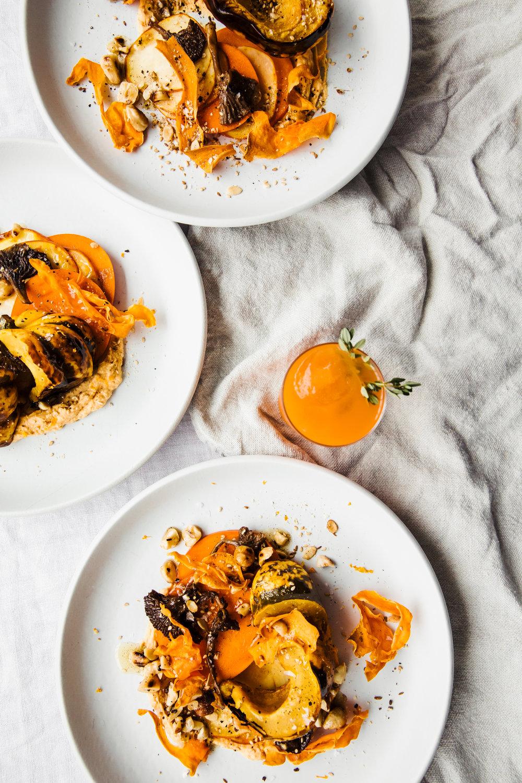 Pumpkin, Labneh, Persimmon, Golden Beets, Sweet Potato Crisps, and Dukkah with Hazelnut Butter
