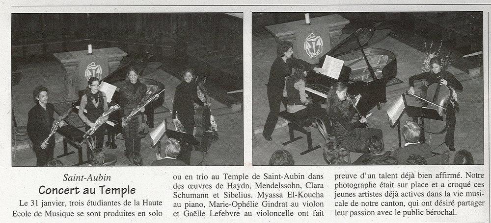 Article dans la Feuille d'Avis de la Béroche, janvier 2010