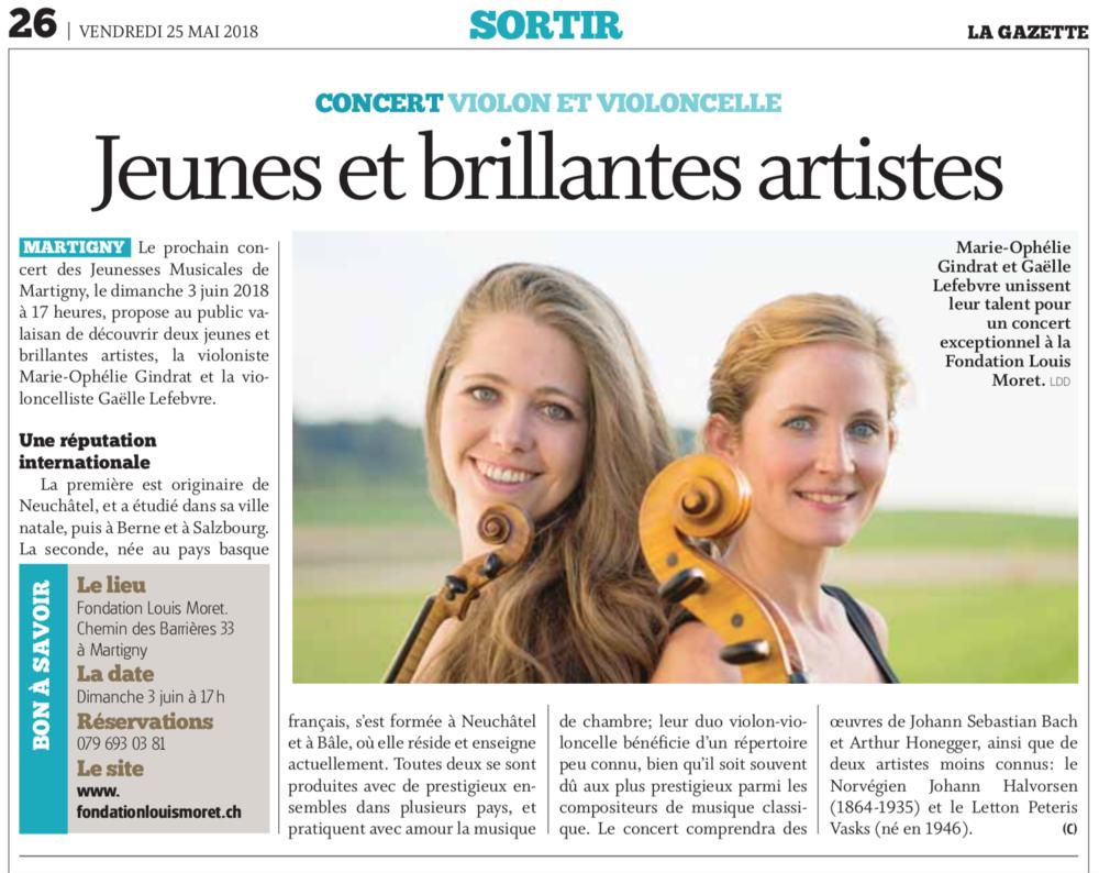 Article dans la Gazette de Martigny,mai 2018