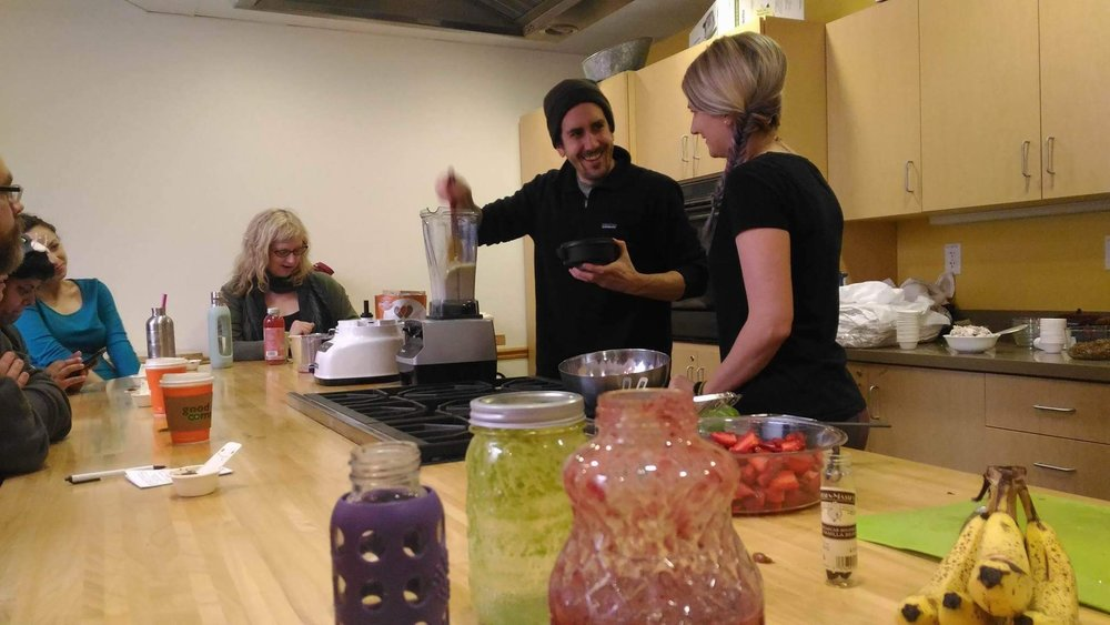 Myself with my amazing sous chef Ashley Riddle blending up some sweet treats. I could not have done this class without her help!