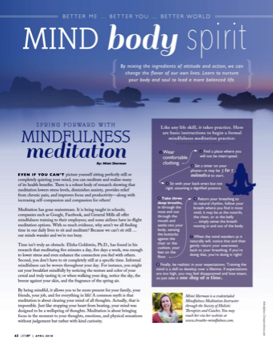 Mindfulness Meditation article in Lake Norman Woman Magazine by Mimi Sherman.
