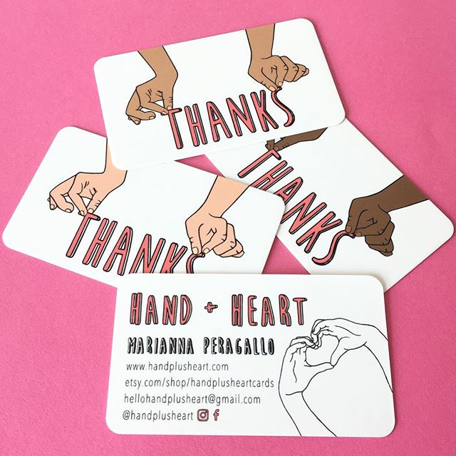 New business cards are full of gratitude ✋️+ 💕