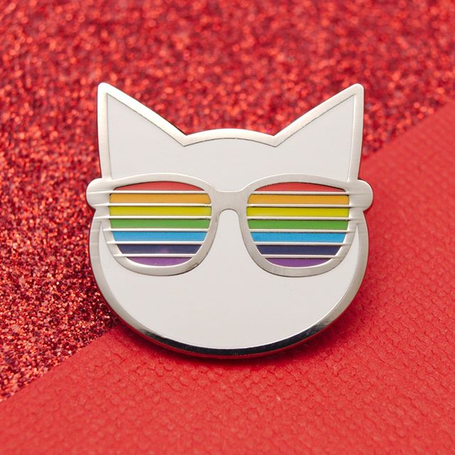 Fancy our cool cat? Grab yours now at poweruppins.etsy.com #pingame #flair #flairgame #etsy #pingamestrong #coolcat #shades #cat #cats #poweruppins #enamelpins #pincollector #rainbow #pincollectors #catpin