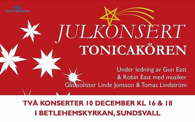Välkomna på julkonsert! Dirigent Gun East och kapellmästare Robin East. Biljetter finns på entresundsvall.nu.