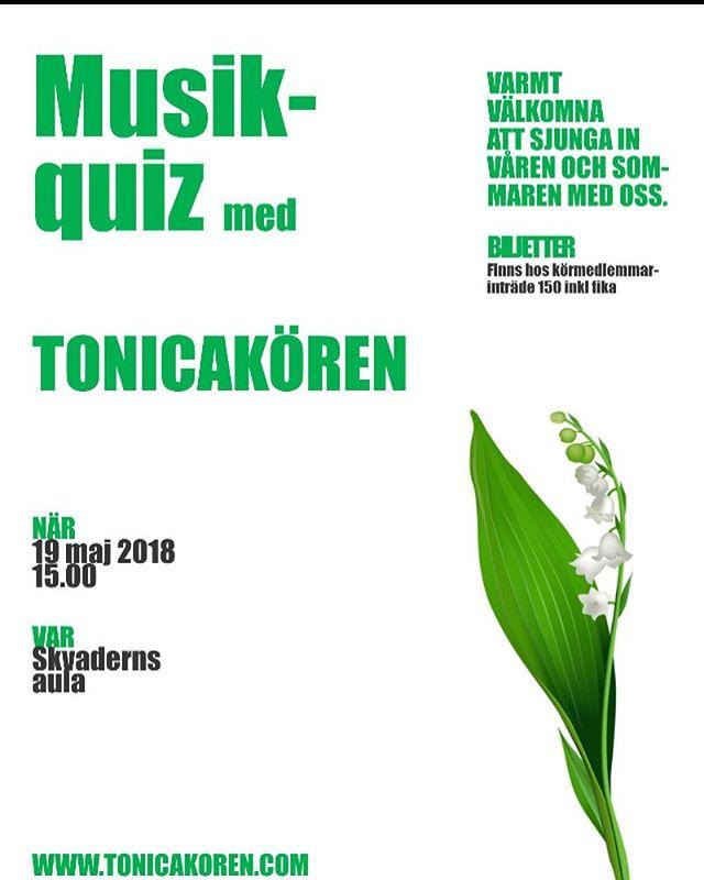 Kom och sjung in våren och sommaren med oss! 🎶 Musikquiz, fika och glada körsångare. 😀 Skvaderns aula 19 maj kl. 15. #tonicakörensundsvall #musikquiz #skvadernsgymnasieskola #körsång