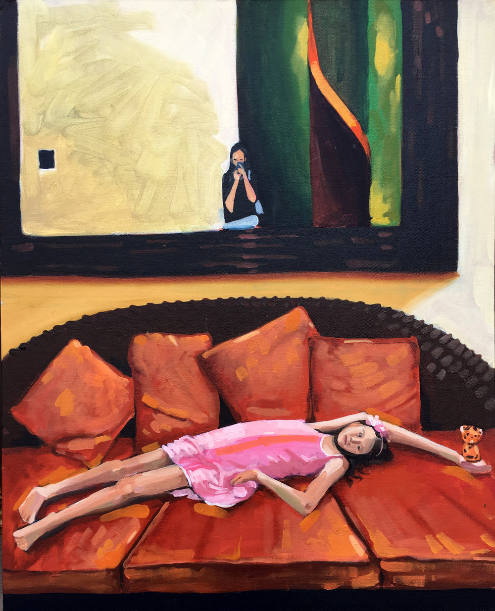 Finished this painting of Tess laying on a couch with a shot of her mom in the mirror taking a picture. I like this composition.