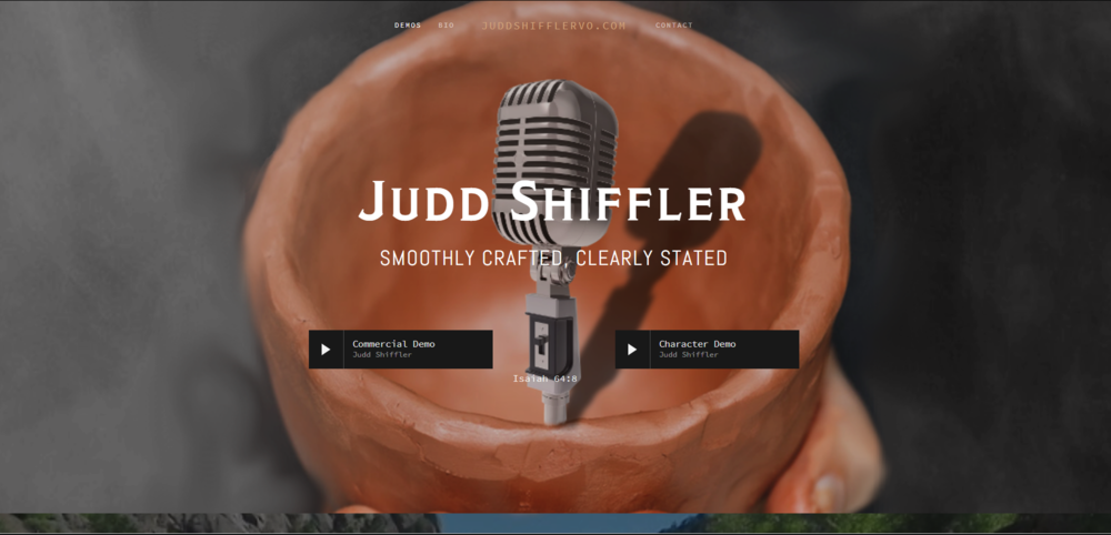Screenshot of homepage for  www.JuddShiffler.com