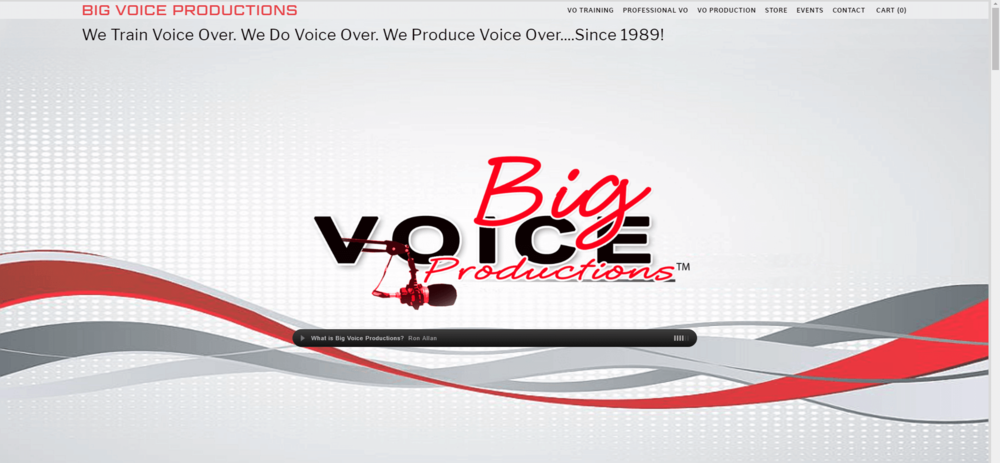 Screenshot of home page for  BigVoiceProductions.com