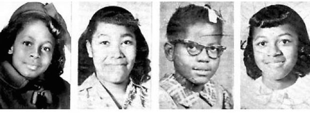 The four girls killed in the 1963 bombing of the 16th Street Baptist Church, Birmingham, Alabama (Clockwise from top left, Addie Mae Collins, Cynthia Wesley, Carole Robertson and Carol Denise McNair).