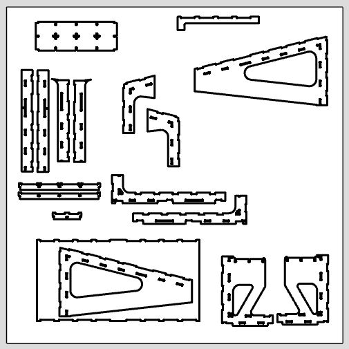 "Each module CAD file contains a ""Parts To Cut"" tab which will give you ready to cut blueprints for each part."