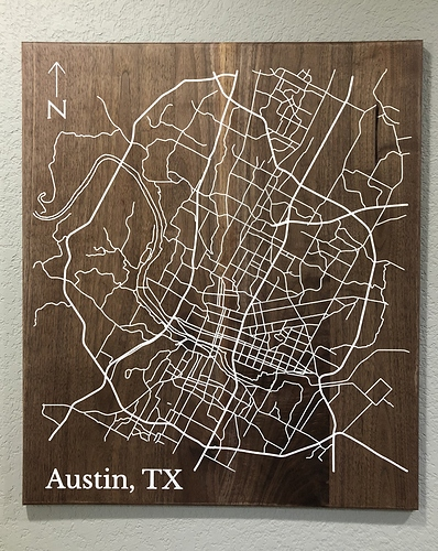 A finished street map of Austin, TX that looks amazing