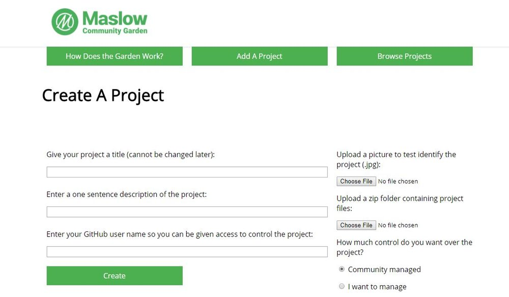 The simple web interface to create a project