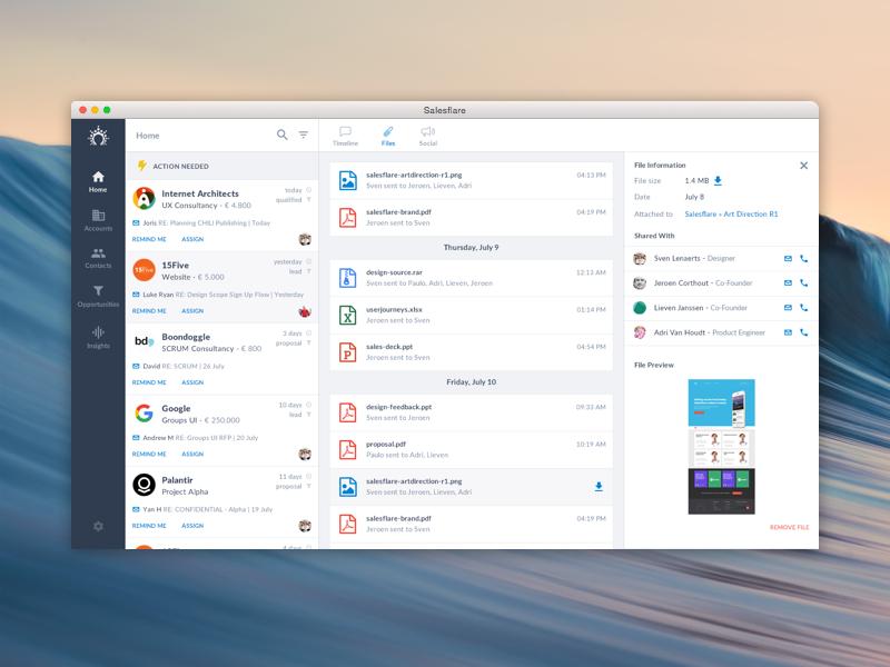 Salesflare  - UX & UI design, web design
