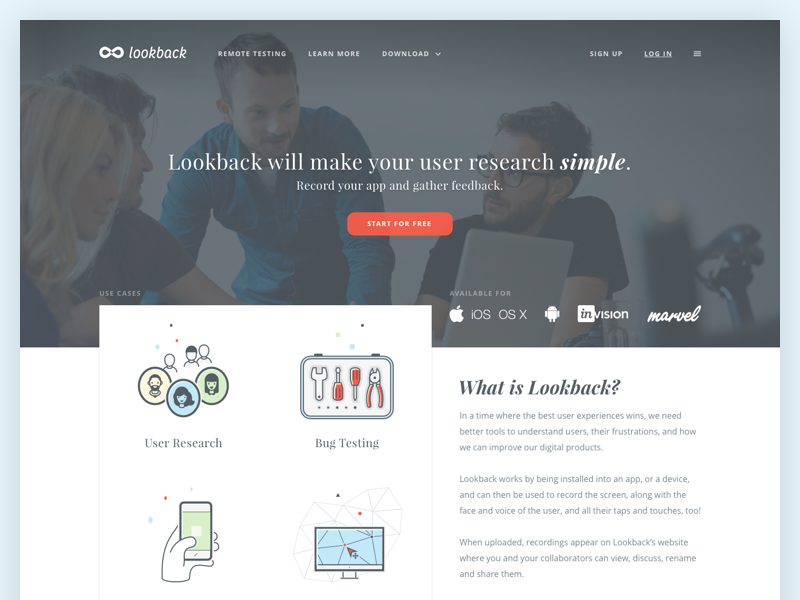 Lookback  - Web design