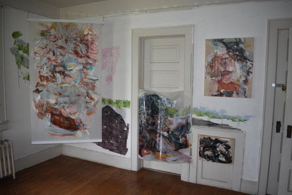 Installation of West wall including Haganchisui 1, mural, Emotional Landscape 4(Rock element), Evanescense 2, Flow 22