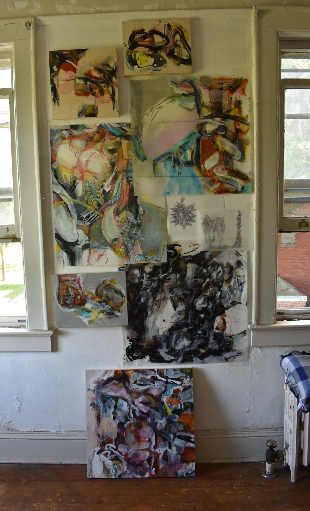 South wall.with small works and studies