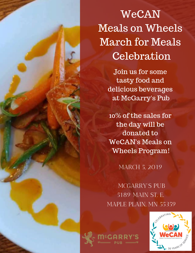 WeCAN Meals on Wheels March for Meals Celebration | March 5 | McGarry's Pub, 5189 Main St E, Maple Plain