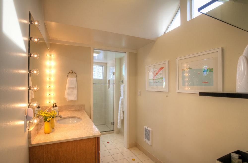 Upstairs bathroom with separate walk-in shower