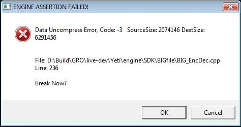 An unhelpful error message, sourced from  this blog post