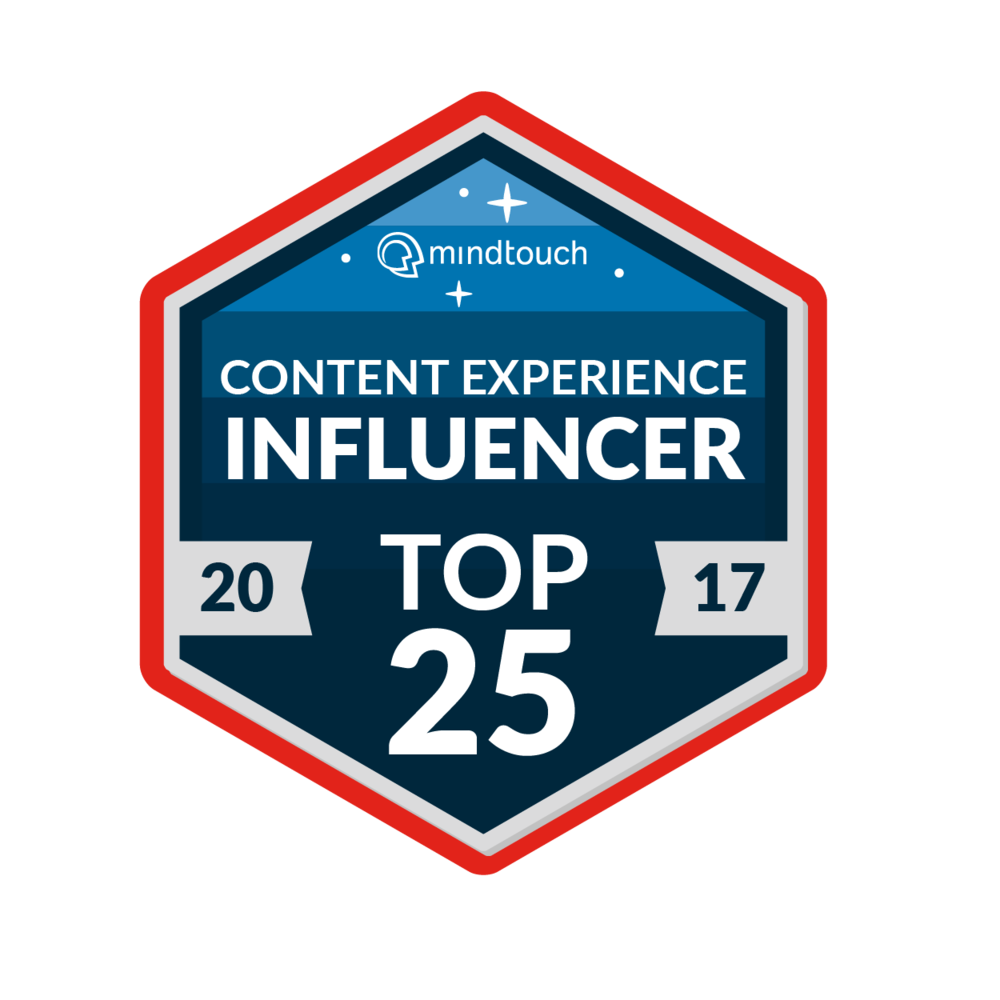 Content Experience Influencer Top 25 - I was very happy to be in this top 25 list, especially given that many of the others in the list are people I've followed and learned from since I started in structured content. The award is based on peer voting and judging. It's given to people who do innovative work in the field and who share their work with others in presentations, articles and so on. Get the whole list here.