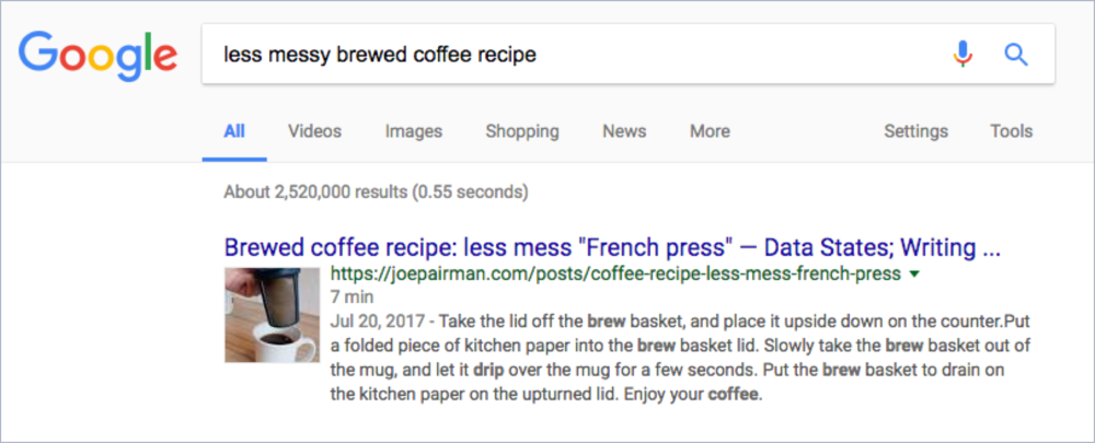 Search result for a Schema.org-enriched recipe, showing thumbnail image, total time, and (concatenated) steps